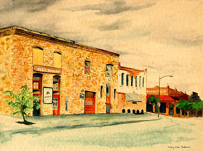 Poster featuring the painting Quantrill's Flea Market - Lawrence Kansas by Mary Ellen Anderson