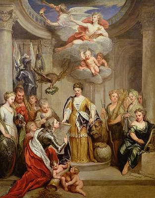 Queen Anne Presenting Plans Of Blenheim To Military Merit Oil On Canvas Poster by Sir Godfrey Kneller