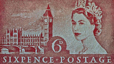 Queen Elizabeth II Big Ben Stamp Poster