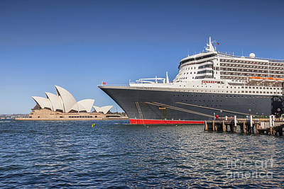 Queen Mary 2 And Sydney Opera House Poster by Colin and Linda McKie