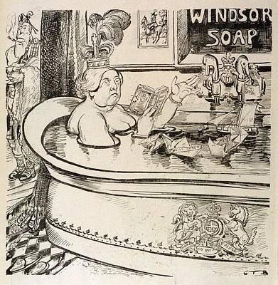 Queen Victoria  Cartoon In Her Bath Poster