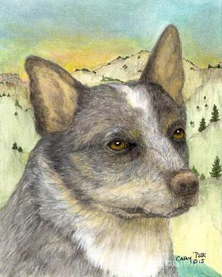 Queensland Blue Heeler Dog Animal Art Poster by Cathy Peek