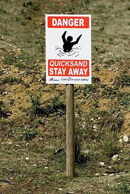 Quicksand Warning Sign Poster by Mark Williamson