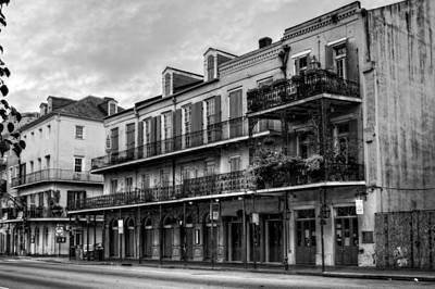 Quiet Time On Decatur Street In Black And White Poster by Chrystal Mimbs