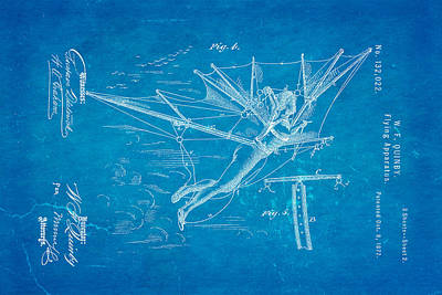 Quinby Flying Apparatus 2 Patent Art 1872 Blueprint Poster by Ian Monk