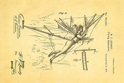 Quinby Flying Apparatus 2 Patent Art 1872 Poster by Ian Monk