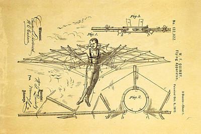 Quinby Flying Apparatus Patent Art 1872 Poster by Ian Monk