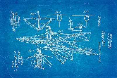 Quinby Flying Machine Patent Art 1869 Blueprint Poster by Ian Monk
