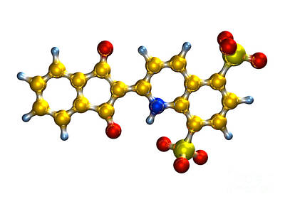Quinoline Yellow Food Coloring Molecule Poster by Dr. Mark J. Winter