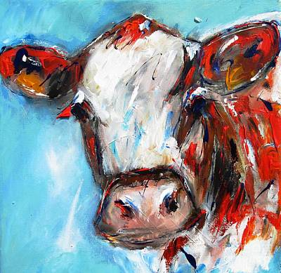 wall art print and poster ofQuizzical cow painting Poster by Mary Cahalan Lee- aka PIXI