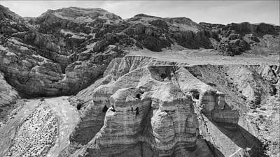 Qumran Caves Bw Poster by Stephen Stookey