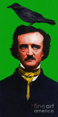 Quoth The Raven Nevermore - Edgar Allan Poe - Painterly - Green Poster