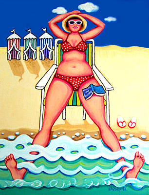 R And D - Woman On Beach Poster by Rebecca Korpita