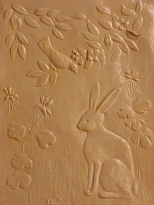 Rabbit And Robin Poster by Deborah Dendler