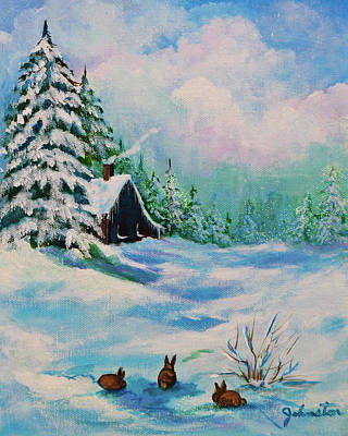 Poster featuring the painting Rabbits Waiting For Spring by Bob and Nadine Johnston