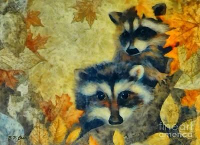 Raccoons  Poster by Elizabeth Coats