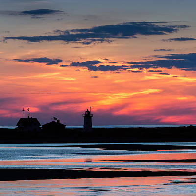 Race Point Light Sunset Square Poster by Bill Wakeley