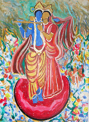 Poster featuring the painting Radha And Krishna by Anand Swaroop Manchiraju