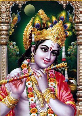 Radha Krishna Idol Hinduism Religion Religious Spiritual Yoga Meditation Deco Navinjoshi  Rights Man Poster by Navin Joshi