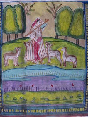 Poster featuring the painting Radha by Vikram Singh
