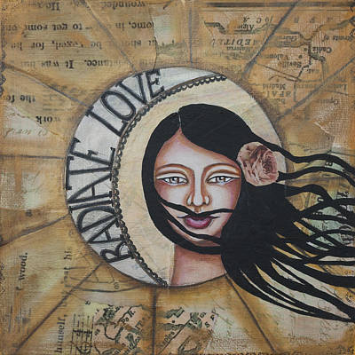 Radiate Love Inspirational Mixed Media Folk Art Poster