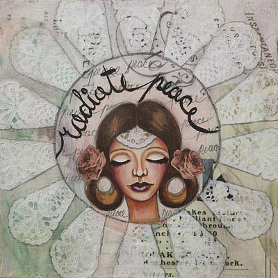 Radiate Peace Inspirational Mixed Media Folk Art  Poster
