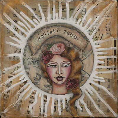 Radiate Truth Inspirational Folk Art Poster