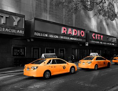 Radio City Music Hall And Taxis In New York City Poster