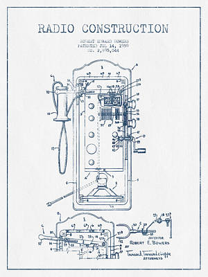 Radio Constuction Patent Drawing From 1959 - Blue Ink Poster
