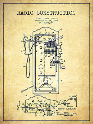 Radio Constuction Patent Drawing From 1959 - Vintage Poster