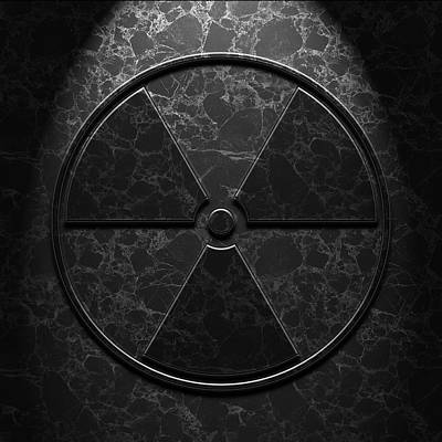 Poster featuring the digital art Radioactive Symbol Black Marble Texture by Brian Carson