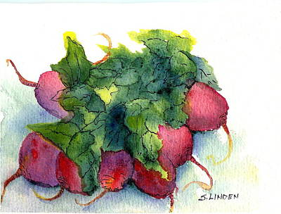 Poster featuring the painting Radishes by Sandy Linden