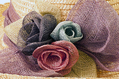 Poster featuring the photograph Raffia Roses Macro by Sandra Foster