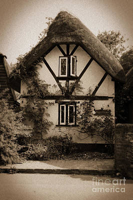 Rags Corner Cottage Nether Wallop Olde Sepia Poster