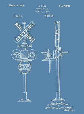 Railroad Crossing Patent On Blue Poster by Dan Sproul
