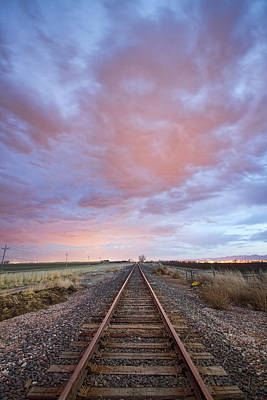 Railroad Tracks Into The Sunset Poster by James BO  Insogna