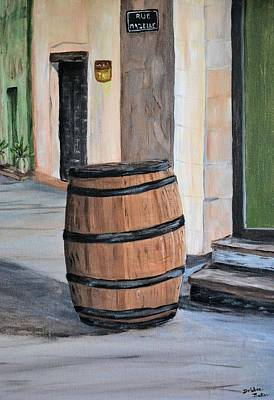 Poster featuring the painting Rain Barrel by Debbie Baker