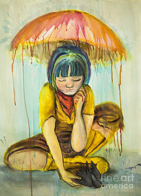 Poster featuring the painting Rain Day  by Angelique Bowman