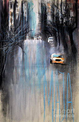 Poster featuring the drawing Rain In New York by Maja Sokolowska