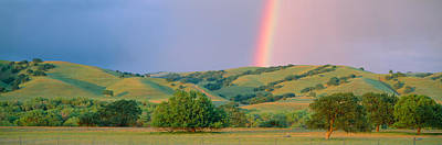 Rainbow And Rolling Hills In Central Poster