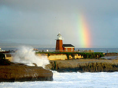 Rainbow At Santa Cruz Lighthouse Poster by Randy Straka