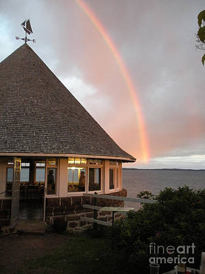 Rainbow At The Bath House Minister Island Nb Poster