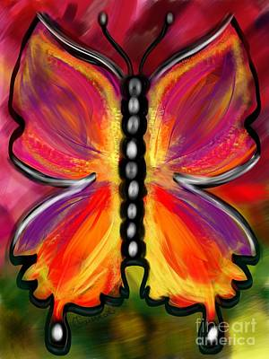 Rainbow Butterfly Poster by Christine Fournier