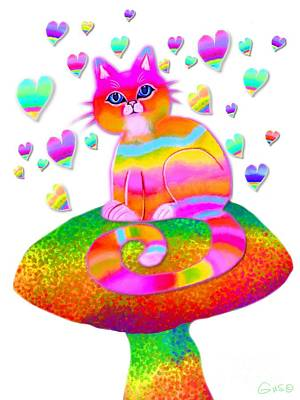 Rainbow Cat Hearts And Mushrooms Poster by Nick Gustafson