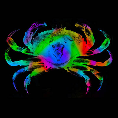 Poster featuring the digital art Rainbow Crab by David Blank