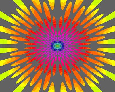 Rainbow Daisy Mandala  C2014  Poster by Paul Ashby
