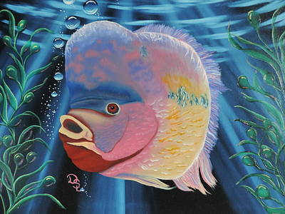 Poster featuring the painting Rainbow Devil Fish by Dianna Lewis