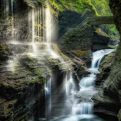 Rainbow Falls Square Poster by Bill Wakeley