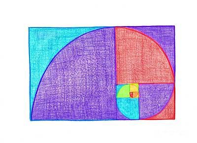 Rainbow Fibonacci Spiral Poster