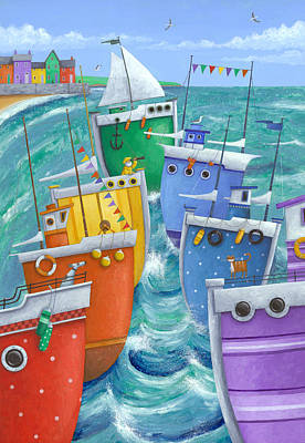 Rainbow Flotilla Poster by Peter Adderley